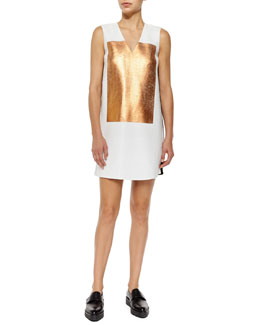 Sleeveless V-Neck Metallic-Block Shift Dress