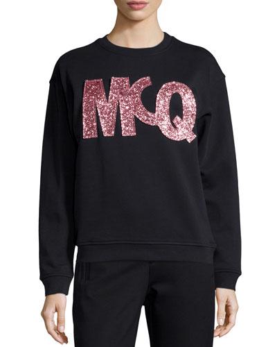 Classic Glitter Logo Sweatshirt, Darkest Black