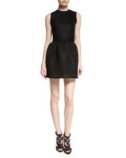 Mesh Volume Party Dress, Black