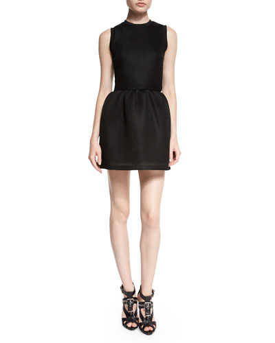 Mesh Volume Party Dress, Black