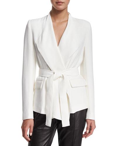 Cleland Tie-Waist Jacket, Ecru