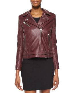Jone Lambskin Leather Jacket, Burgundy