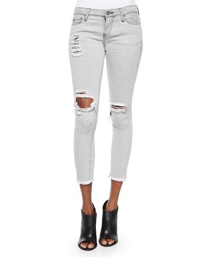Jarod Distressed & Ripped Denim Cropped Jeans
