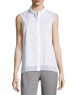 Shelby Sleeveless Blouse W/ Mesh Insets