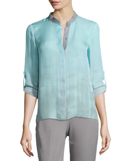 Dylan Tabbed-Sleeve Blouse