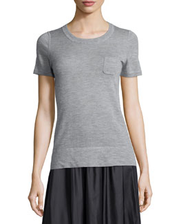 Slone Short-Sleeve Cashmere Sweater