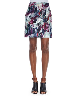 Abstract-Print A-Line Skirt, Multi Colors