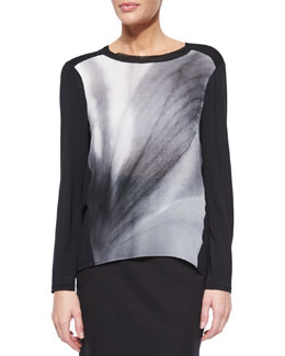 Andey Long-Sleeve Print-Front Silk Blouse