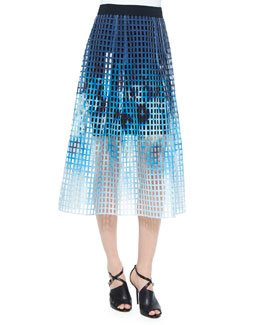 Dillan Printed Laser-Cut Midi Skirt, Blue/Multi
