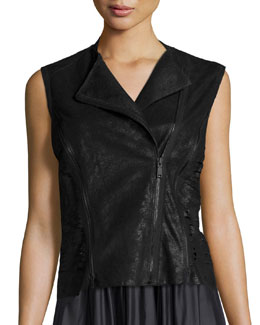 Victoria Leather Multi-Zip Vest