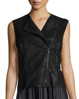 Victoria Leather Multi-Zip Vest