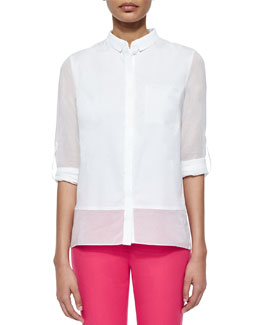 Vivian Long-Sleeve Sheer-Inset Blouse