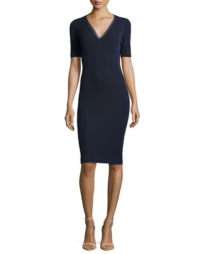 Shannon V-Neck Ponte Sheath Dress, Navy Yard