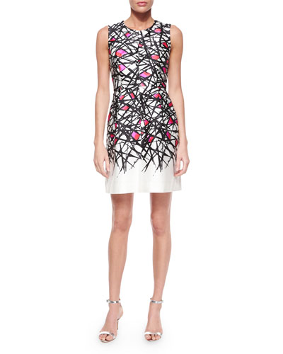 Coco Abstract-Print Dress, Pink Pattern