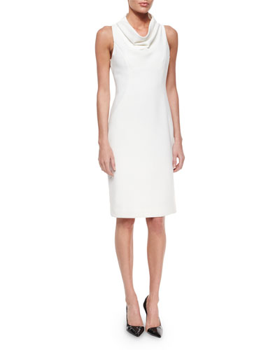 Sleeveless Cowl-Neck Sheath Dress
