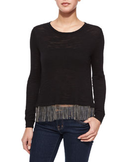 Chain-Fringe Swing Top, Black