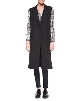 Wool Sleeveless Long Overcoat