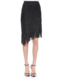 Claudette Suede Skirt W/ Fringe