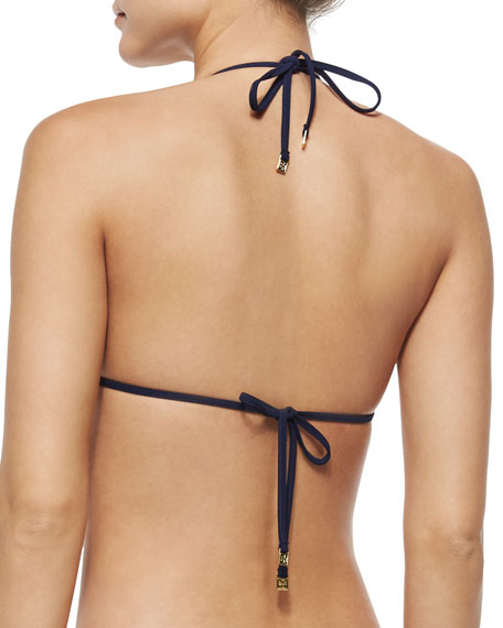 Paisley-Print Reversible Bikini Top, Ivory/Multi