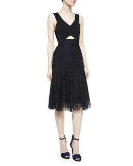 Sleeveless Lace Cutout Dress, Black