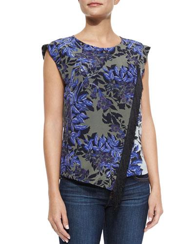 Floral-Print Sleeveless Fringe-Front Blouse, Rosemary