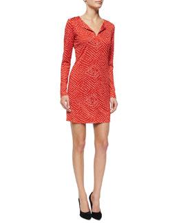 Reina Batik-Print Split-Neck Dress, Red