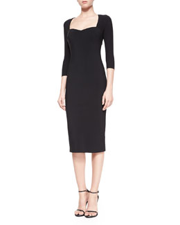 Serenity 3/4-Sleeve Body-Conscious Dress