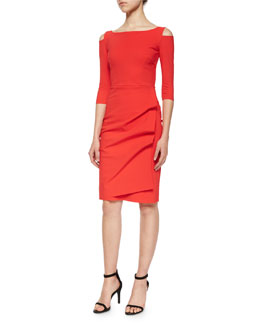 Stefania 3/4-Sleeve Cold-Shoulder Ruched Dress
