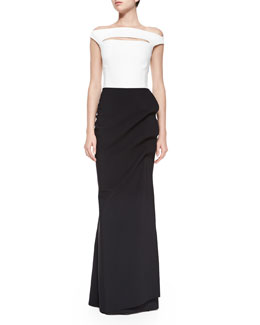 Melania Off-the-Shoulder Colorblock Ruched Long Dress