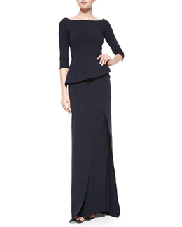 Saskia 3/4-Sleeve Peplum Column Gown