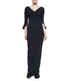 Zalfa V-Neck Ruffle-Sleeve Column Gown, Black