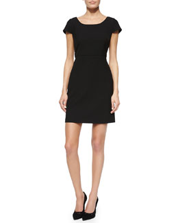 Monica Back-Pleat Dress, Black
