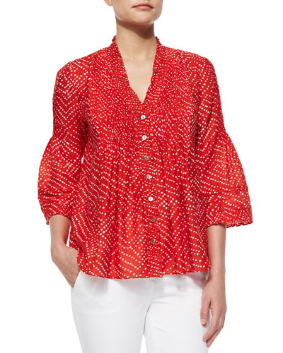 Layla Batik-Print Top, Red