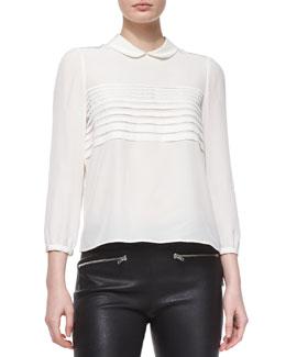Bracelet-Sleeve Silk Button-Back Blouse