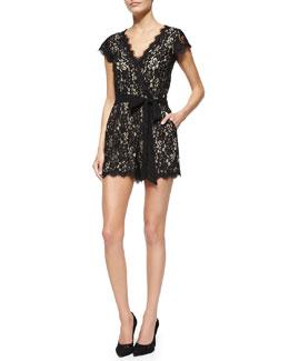 Purdette Short Lace Romper, Black/Nude