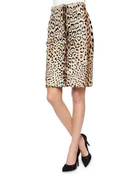 Vania Leopard-Print Lamb Fur Skirt
