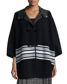 Wool-Blend Blanket Striped Cape