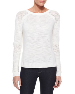 Textured Mesh Pullover Sweater, White