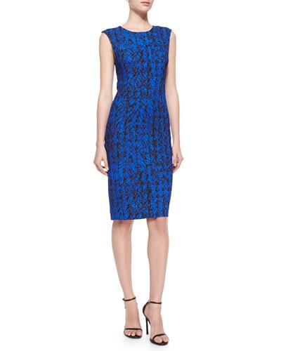 Scribble-Print Midi Sheath Dress