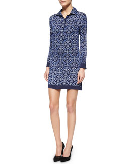 Tile-Print Shift Dress w/Knit Back, Midnight