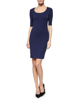 Raquel Scoop-Neck Half-Sleeve Dress, Navy