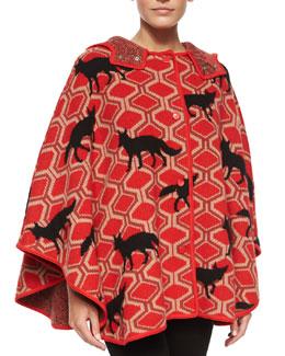 Wolf Jacquard Wool Cape