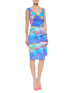 Elaine Sleeveless Printed Jersey Cocktail Dress