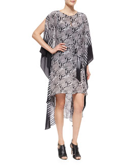 Argento Mixed-Print Chiffon Coverup Caftan