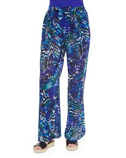 Poetic Wings Long Printed Jersey Coverup Pants
