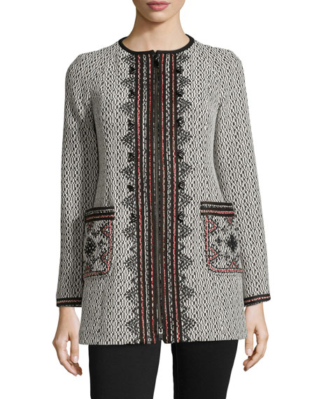Matador Embroidered Zip-Front Coat