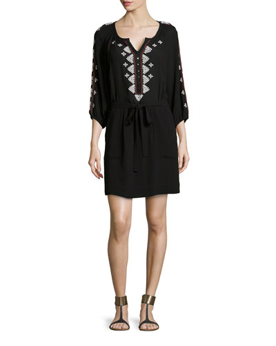 Mariachi 3/4-Sleeve Geometric-Embroidered Dress