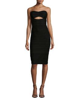 Bombshell Strapless Cutout Cocktail Dress, Black