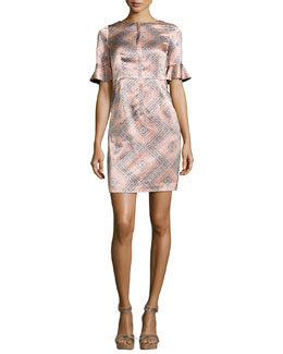 Marseille Flutter-Sleeve Silk Sheath Dress
