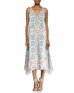Coastal Deep Printed Sleeveless V-Neck Gown